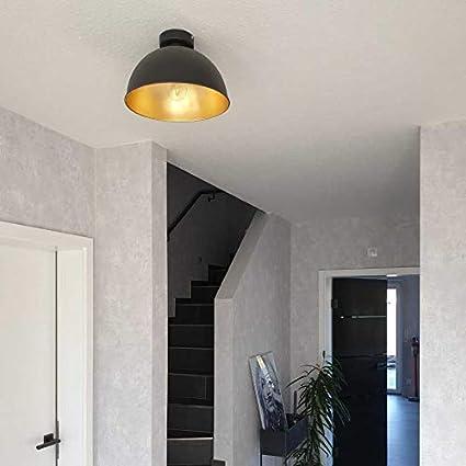 Lámpara techo de diseño retro vintage y industrial Ø310mm max. 60W, Elegante y moderna 230V, Color negro y dorado: Amazon.es: Iluminación