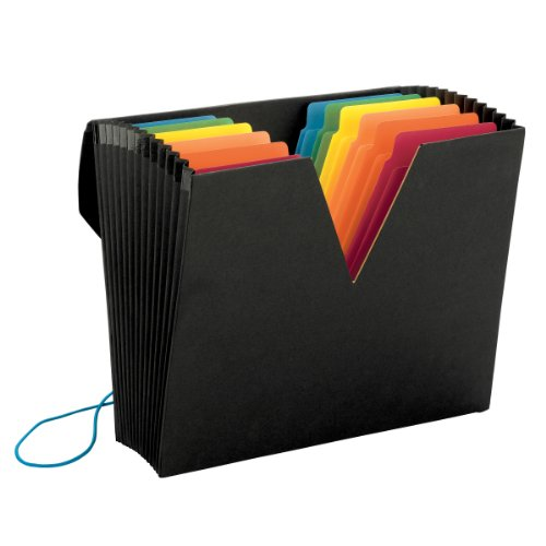 Smead ColorVue  Expanding File with SuperTab, Blank Oversized Tabs, 13 Pockets, Flap and Elastic Cord Closure, Letter Size, Black (70722)