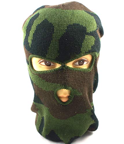 3-Hole Knitted Full Face Ski Mask Adult Winter Balaclava Knit Full Face Mask Outdoor Sports (Camo)