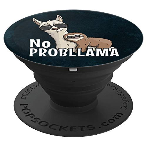 Sloth Riding Hipster Llama | Sunglasses No ProbLLama Art - PopSockets Grip and Stand for Phones and ()