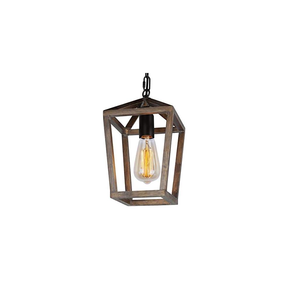 JHLBYL Rustic Chandelier 1-Light, Adjustable Height Wood Cage Pendant Light Farmhouse Chandelier Lighting Fixture for…