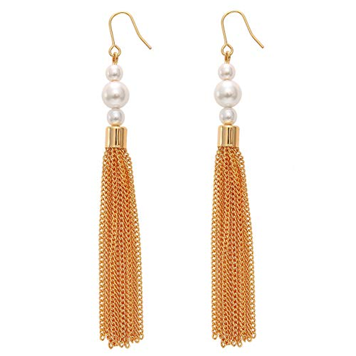 (Zealmer Red Blue White Tassel Long American Flag Earrings for Women Gold)