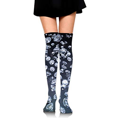 Hateone Long Socks Diamond Wallpaper Seamless Art Knee-High Tube Thigh-High Sock Stockings for Girls & Womens - Seamless Diamond Net