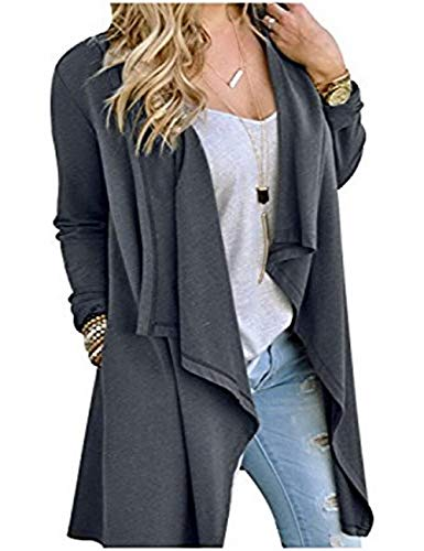 SWISSWELL Women Knitted Open Front Long Trench Coat Cardigan Grey2XL by SWISSWELL