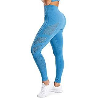 HURMES Women's High Waist Vital Seamless Workout Leggings Butt Lift Tummy Control Yoga Pants Active Energy Sport Gym Tights Blue