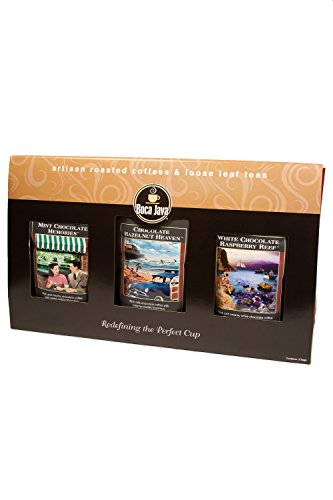 Chocolate Lover's Gourmet Coffee Gift, Includes Mint Chocolate, Chocolate Hazelnut & White Chocolate Raspberry Flavored Coffees, Ground, 8oz (Pack of 3) ()