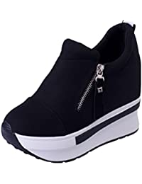 Clearance!! Women Wedges Boots Platform Shoes Slip on Ankle Boots Fashion Casual
