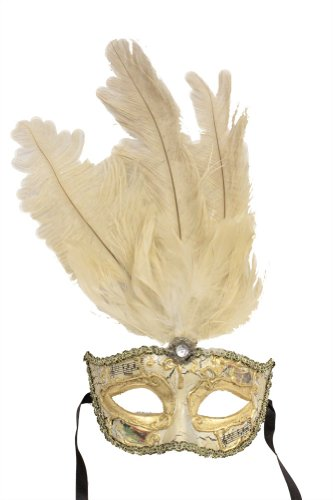 RedSkyTrader Mens Vintage Mask with Feathers One Size Fits Most White And Gold (Mardi Mask White Feather Gras)