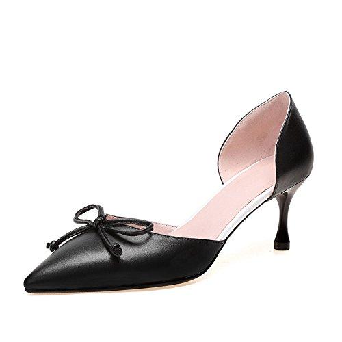 Sort Små Mund Buer Hule Sandaler Læder Og Pegede Dkfjki Stil Iw7zvRnqxO