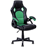 Officelax Racing Chair Gaming Chair PU Leather Swivel Office Chair with Bucket Seat (green)