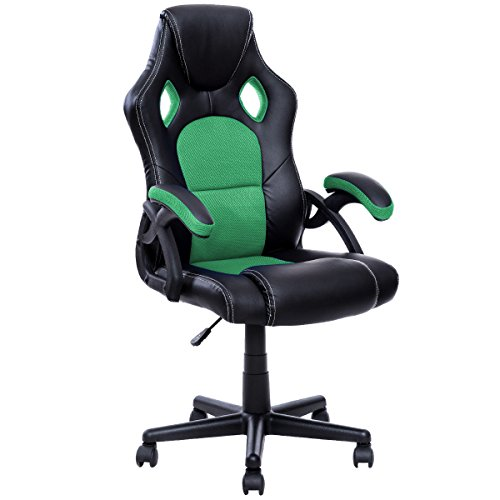 41aizr1nGEL - Officelax-Racing-Chair-Gaming-Chair-PU-Leather-Swivel-Office-Chair-with-Bucket-Seat-green