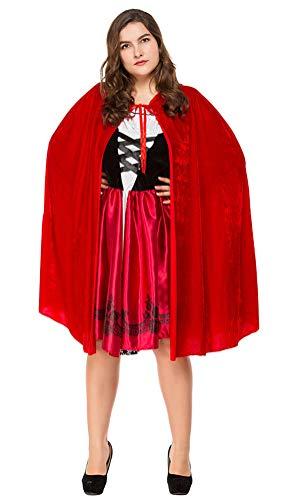 Little Red Riding Hood Halloween Costumes 2019 (Deluxe Women Little Red Riding Hood Costume Plus Size Halloween Renaissance Cosplay Dress B-Design (XXX-Large,)