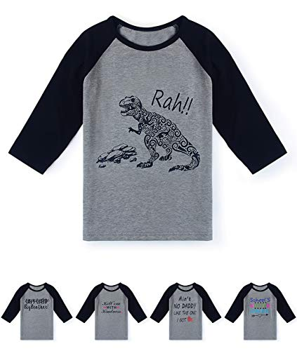 597161390 Fanient Kids Raglan Tee Dinosaur Print 3/4 Sleeves Baseball T Shirts  Fashion School Uniforms Ragan Shirt 3-4 T