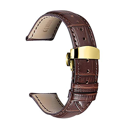 Watch Band Leather Strap Replacement 14mm 16mm 18mm 19mm 20mm 21mm 22mm 24mm Calf Wrist Watchband Deployment Buckle Deployant Clasp CHIMAERA ()
