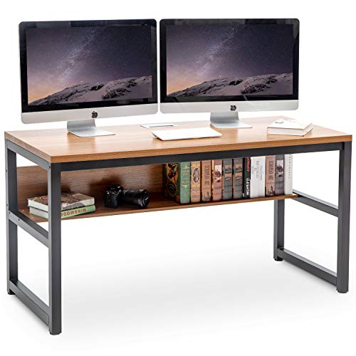"TOPSKY 55"" Computer Desk with Bookshelf/Metal Desk Grommet Hole Cable Cover Oak_Brown"