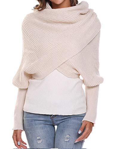 Women Crochet Knit Blanket Long Shawl Winter Warm Large Scarf Scarves Coat