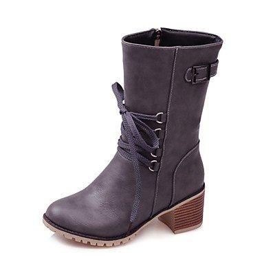 US5 Abbigliamento Di Boots Wuyulunbi Donna Punta 5 EU36 Stivali UK3 CN35 Per Casual Stivali Stivali Lace Moda Mid Up Equitazione Grigio Zipper Mandorla Scarpe 5 Inverno Tonda Calf RR7r8qBT