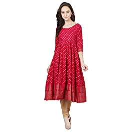 Buy Poshak Women's Cotton Crepe Anarkali Kurta India 2021