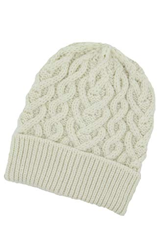 Aran Crafts Wool Heart Pattern Hat One Size - Natural (X4943-NAT)