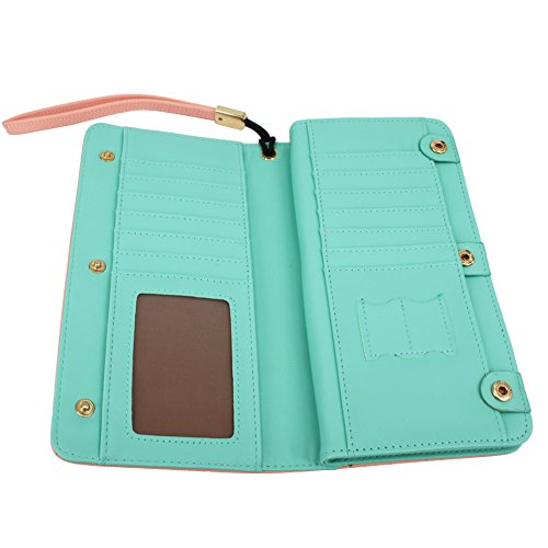 Wallets for Women,KQueenStar Womens Wallet Ladies Purse Clutch Wallet Card Holder Organizer Large Capacity With Wrist Strap
