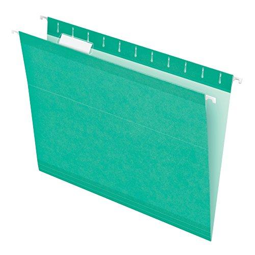 Pendaflex Reinforced Hanging File Folders, Letter Size, Aqua, 1/5 Cut, 25/BX (4152 1/5 AQU)