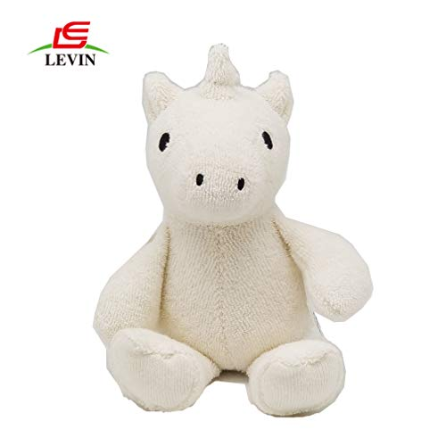Levin Toys Soft Baby Teething Toy Organic Unicorn Animal Plush Toy with Natural Wooden Ring