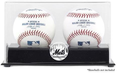 [New York Mets Two Baseball Cube Logo Display Case] (Mets Display Cases)