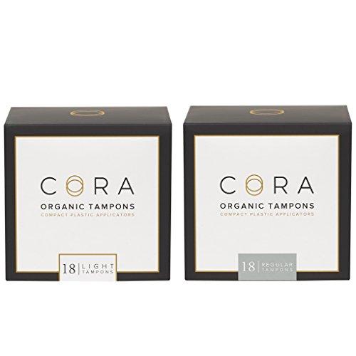 Cora Variety Pack - Light/Regular - Organic Cotton Tampons with Applicator (36 Count; 18 Light & 18 Regular)