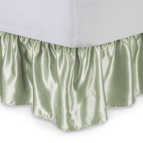 vitansha B 'dコレクションSilky Shiny寝具マットレスベッドDressing Dustフリルサテンベッドスカート15インチドロップ キング VSHdrSKRT1-079 B079CNT4H4 セージ キング