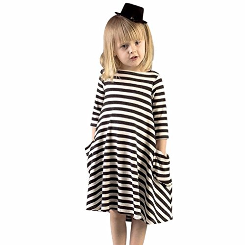 Winhurn Casual Black White Stripes Lovely Family Dress for Baby Kids Girls (2-3 Years, Black) (Kids Black Dresses)