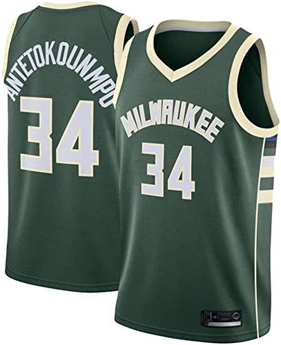 Shelfin Jersey De Hombre Bucks De Milwaukee Jersey De Las Mujeres De Los Hombres No.34 Antetokounmpo Jerseys Transpirable Bordado Baloncesto Swingman Jersey Color : Green, Size : S