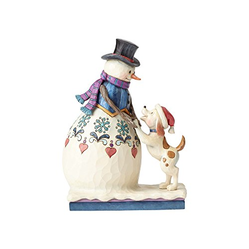 Enesco Jim Shore Heartwood Creek Snowman with Puppy Stone Resin Figurine, 8.5""