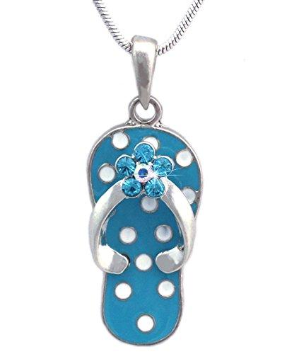 cocojewelry White Polka Dot Aqua Blue Flip Flop Beach Sandal Flower Pendant Necklace (Blue)