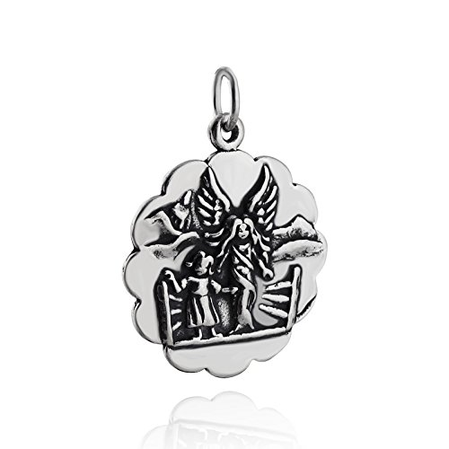 Guardian Angel Charm - 925 Sterling Silver Scallop Disk Round Cherub Chaild NEW Jewelry Making Supply, Pendant, Charms, Bracelet, DIY Crafting by Wholesale - Guardian Angel Disc