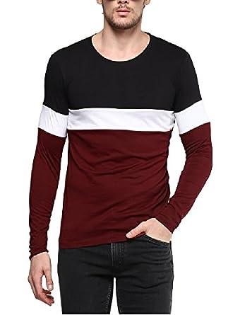 Urbano Fashion Mens Striped Slim Fit T Shirt Cns RND Blamar