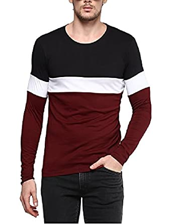 22cd232b627 Urbano Fashion Men s Black, White, Maroon Round Neck Full Sleeve T ...