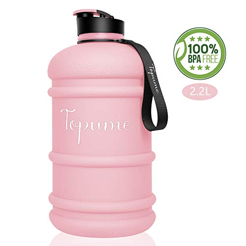 TOPWAN 2.2L Half Gallon Big Water Bottle BPA Free Leakproof Sport Water Jug with Hand Strap, Reusable Smart Water Tracking Drinking Container for Gym Fitness, Yoga, Outdoor Camping Travel (Pink) (Pink Half Gallon Water Jug)