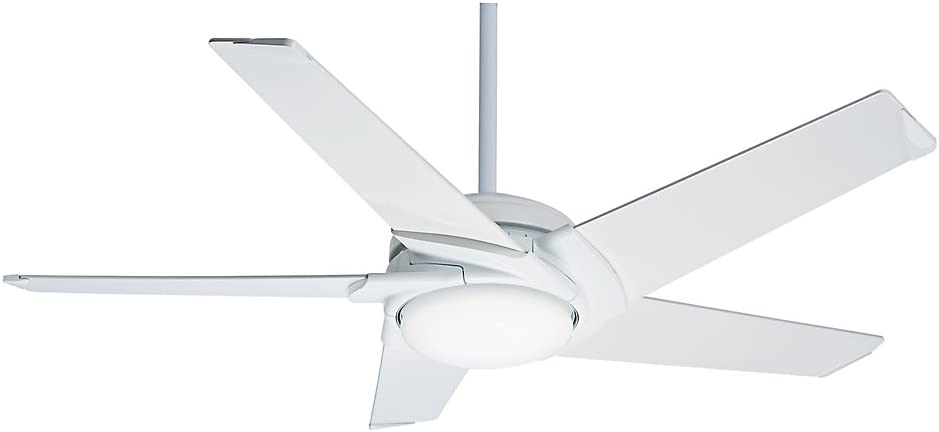 Casablanca Indoor Ceiling Fan with LED Light and remote control - Stealth 54 inch, White, 59165