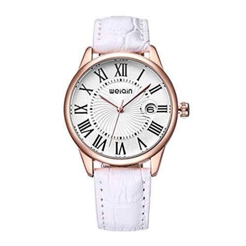 (Beixi Women Fashion Calendar Display Roman Numeral Stave Dial PU Leather Band Analogue Quartz Wrist Watch (Size : Ca6516w))