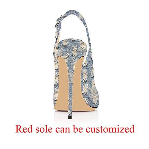 Peep Evening Stilettos Heels Pumps Slingback Sandals Women's Cute Denim Modemoven Blue Shoes Toe Leather Patent FHBICxnqa