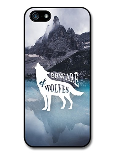 Beware of Wolves on Hipster Mountain Style Silhouette case for iPhone 5 5S
