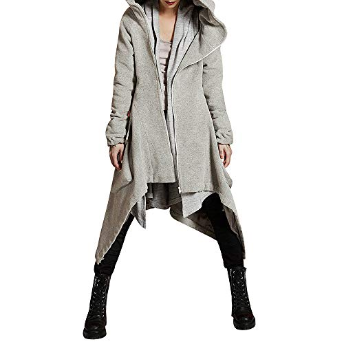 Dreamyth-Winter Womens Winter Casual Hoodie Zipper Asymmetric Solid Quilted Coat Overcoat (Gray, S)