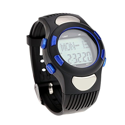 R) 3 ATM Heart Rate Monitor Pulse Watches Waterproof Sport Pulse Monitor Fitness Exercise Watch Stopwatch Pedometer calorie Outdoor Cycling Blue ()