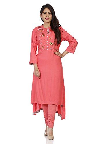BIBA Women's Pink Viscose Kurta Size 32