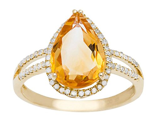(Instagems 10k Yellow Gold 2.40ct Pear-Shaped Citrine and Halo Diamond Ring (1/4 cttw))