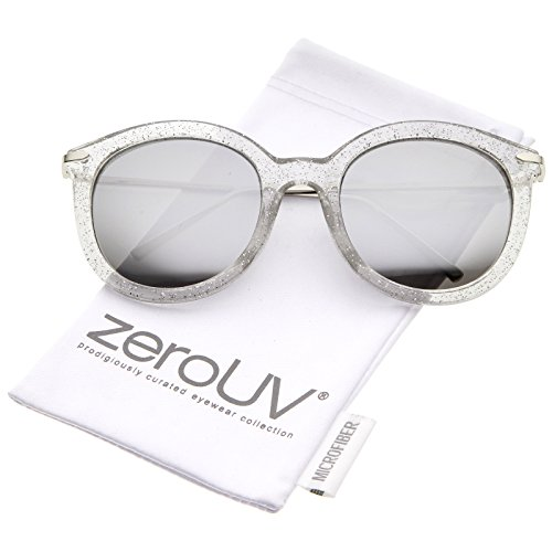 zeroUV - Women's Transparent Glitter Frame Ultra Slim Metal Temple Round Sunglasses 56mm (Clear-Silver / Silver (Glitter Clear Frames)