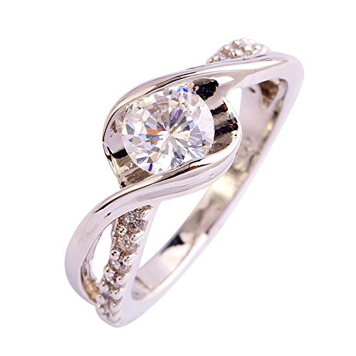 Artcarved Set Ring - Emsione White Topaz 925 Silver Plated Openwork Band Ring for Women