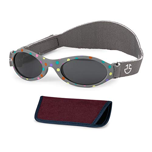 Baby Sunglasses 0-6, 6-12 month - Age 3 Years | Infant, Toddler Girl & Boy Sun Glasses with Adjustable Strap, Baby Beach Gear | UV 400 Protection | Soft Rubber Frame Sunshades with Case (Dark Grey)