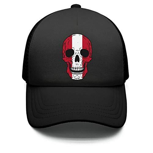 RUVBCGD Skull Peru Flag Retro Cotton Adjustable Mesh Caps Visor Hats Unisex