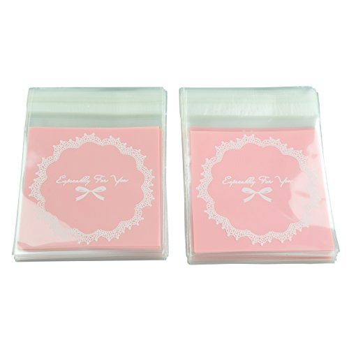 SODIAL 100 Pcs Self Seal Adhesive Opp Bag Round Lace Bow for